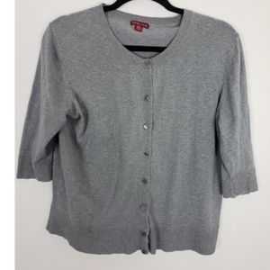 Merona Button Front 3/4 Sleeve Gray Cardigan
